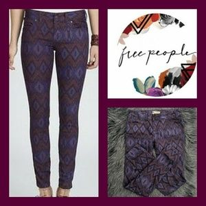 Free People Tribal Ikat Print Skinny Jeans